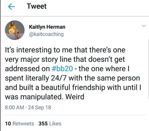 Big Brother 20: Kaitlyn Herman deleted tweet