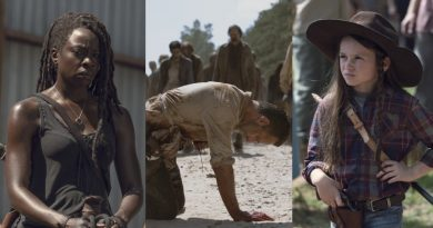 The Walking Dead Spoilers: Michonne (Danai Gurira) - Rick Grimes (Andrew Lincoln) Judith Grimes (Cailey Fleming)