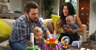 Bold and the Beautiful Spoilers: Steffy Forrester (Jacqueline MacInnes Wood) - Liam Spencer (Scott Clifton) - Kelly Spencer (Zoe Pennington and Chloe Teperman) - Phoebe Forrester (Rosalind Aune and Isabella de Armas)