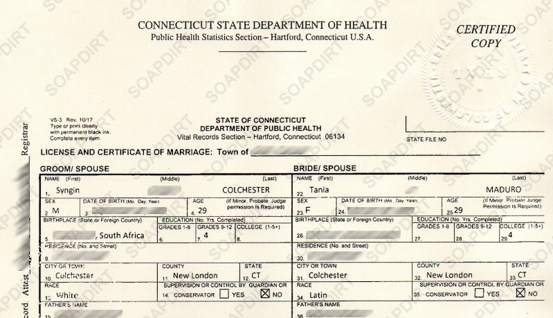 90 Day Fiance: Syngin Colchester - Tania Maduro - Marriage License Certificate