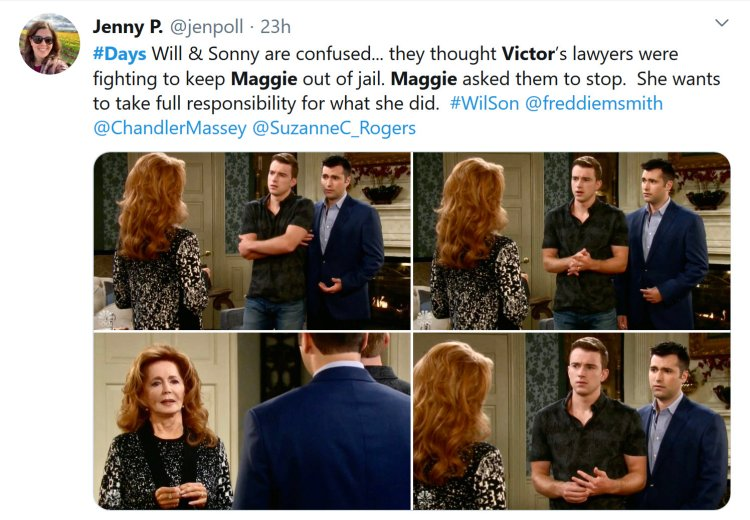 Days of Our Lives Spoilers: Maggie Horton (Suzanne Rogers) -Will Horton (Chandler Massey) - Sonny Kiriakis (Freddie Smith)