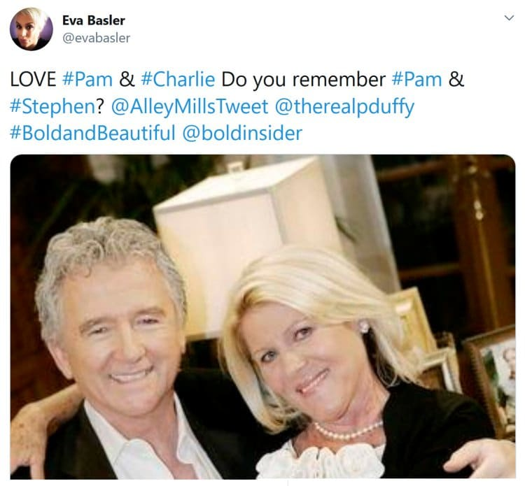 Bold and the Beautiful: Stephen Logan (Patrick Duffy) - Pam Douglas (Alley Mills)