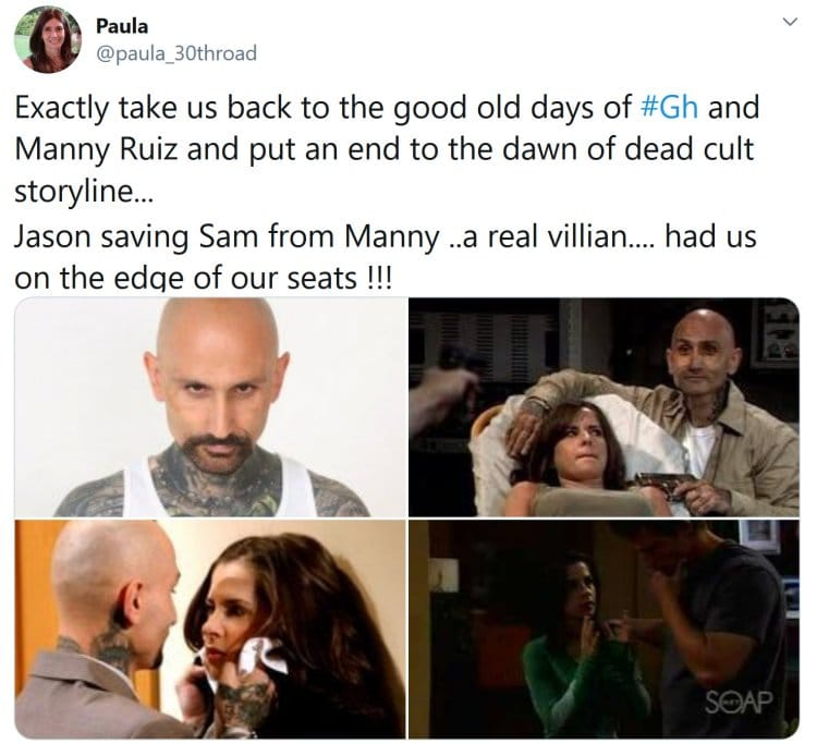 General Hospital: Sam McCall (Kelly Monaco) - Manny Ruiz (Robert LaSardo)
