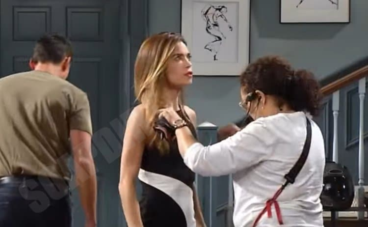 Young and the Restless: Victoria Newman (Amelia Heinle) on set with crew