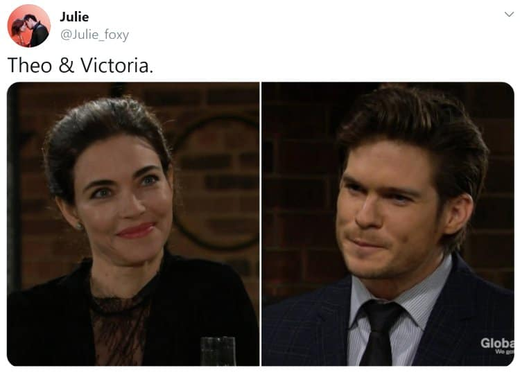 Young and the Restless Spoilers: Theo Vanderway (Tyler Johnson) - Victoria Newman (Amelia Heinle)
